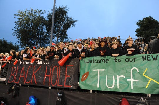The student section at Livonia Churchill is ready for some football.
