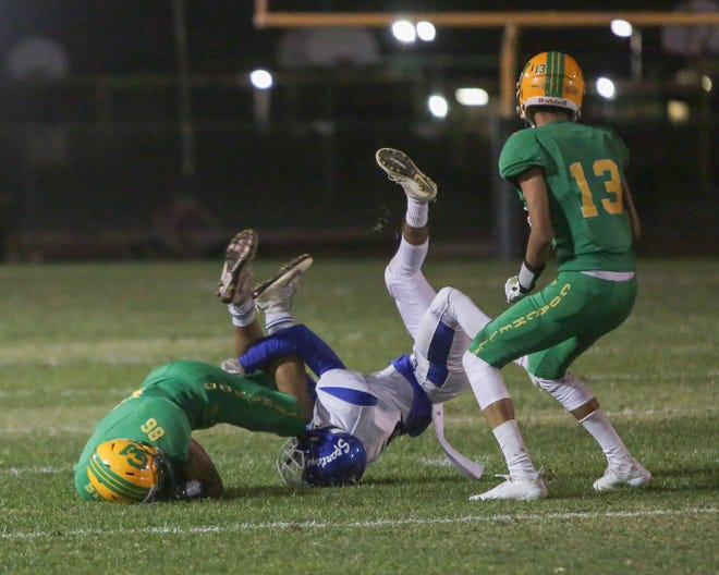 Andres Medina catches the ball and gets a new set of downs. The Coachella Valley varsity football team lost Friday's home non-conference game against Central (El Centro, CA) by a score of 49-6.