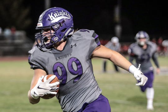 Shadow Hills' Jake Shipley carries the ball against Indio on Friday, September 7, 2018 at Shadow Hills High School in Indio.