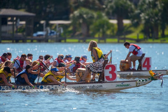 Racers make their way to the finish line Saturday, September, 8, 2018 during the Pensacola Dragon Boat Races at Bayview Park.