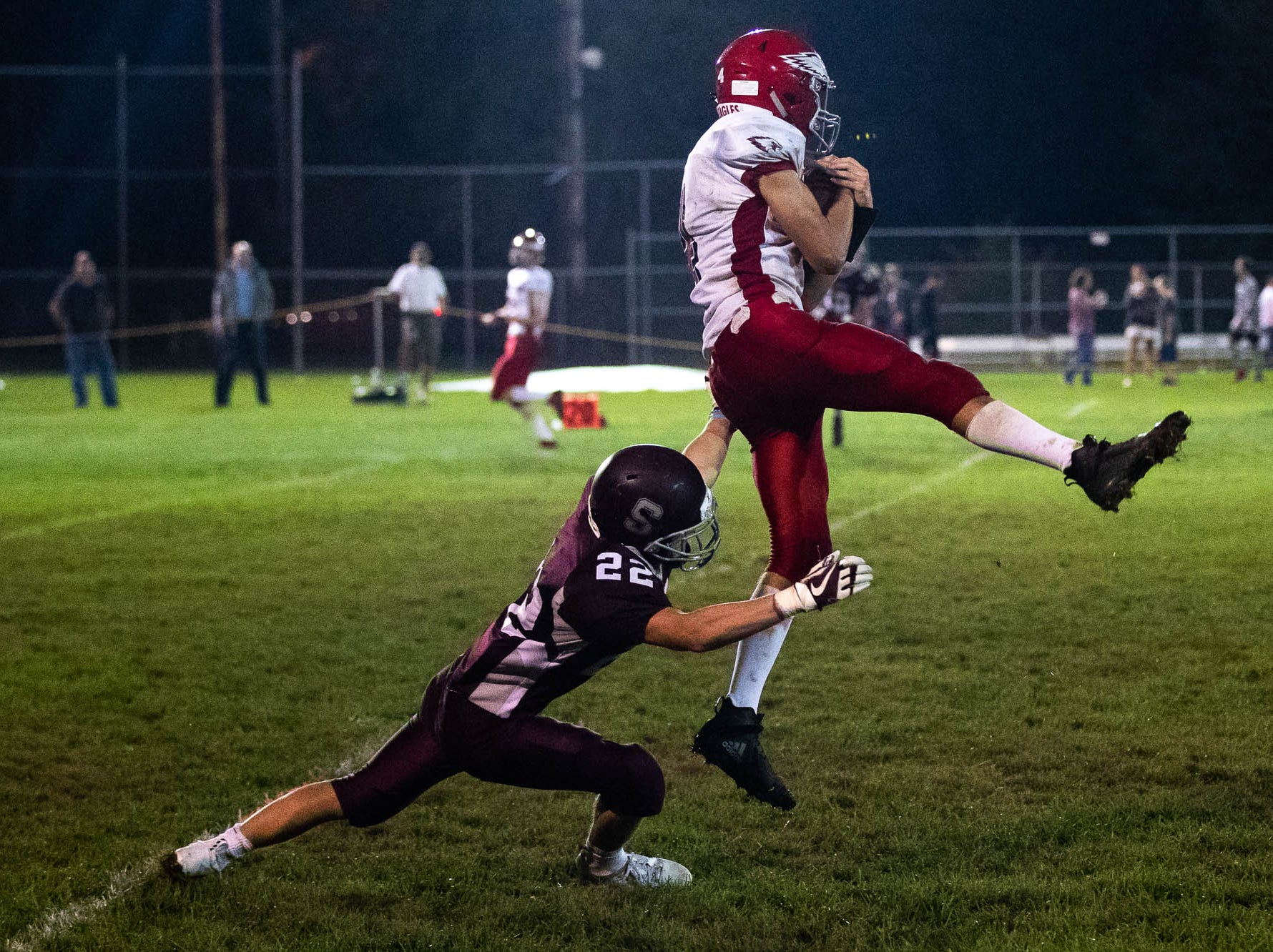 Bermudian Springs' Kolt Byers (4) completes a pass during a football game between Shippensburg and Bermudian Springs, Friday, Sept. 7, 2018, at Shippensburg High School. The Shippensburg Greyhounds defeated the Bermudian Springs Eagles 31-17.