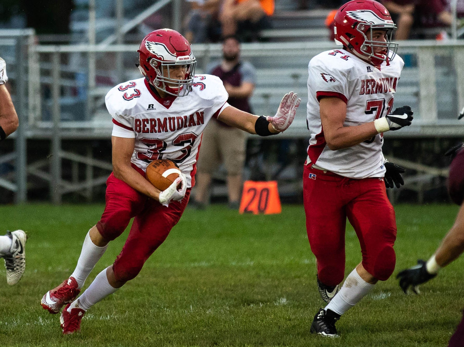 Bermudian Springs' Trace Grim (33) runs the ball during a football game between Shippensburg and Bermudian Springs, Friday, Sept. 7, 2018, at Shippensburg High School.