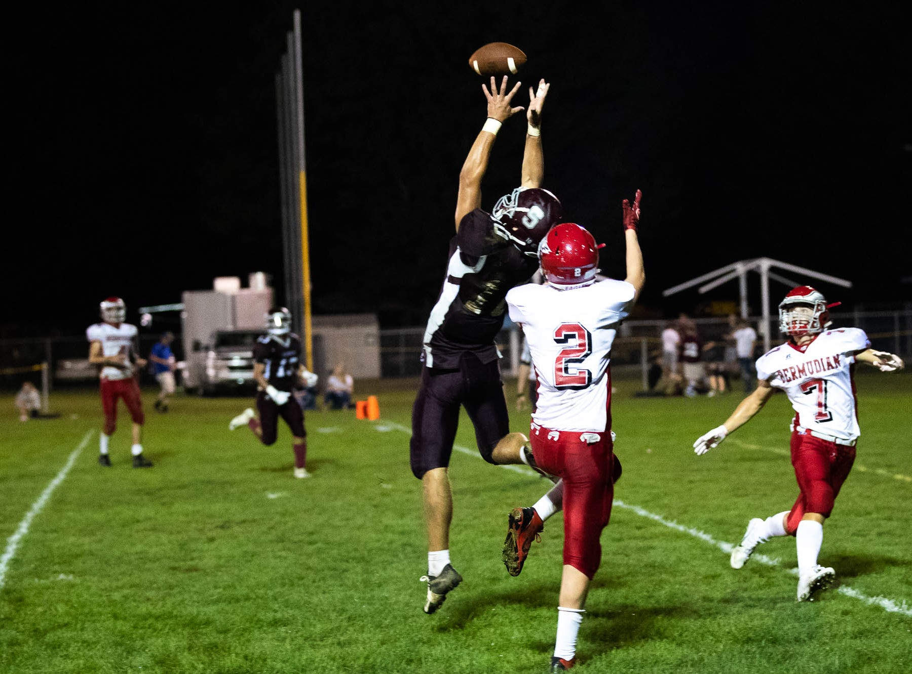 Shippensburg's Nick Gustafson (10) is incomplete on a pass during a football game between Shippensburg and Bermudian Springs, Friday, Sept. 7, 2018, at Shippensburg High School. The Shippensburg Greyhounds defeated the Bermudian Springs Eagles 31-17.