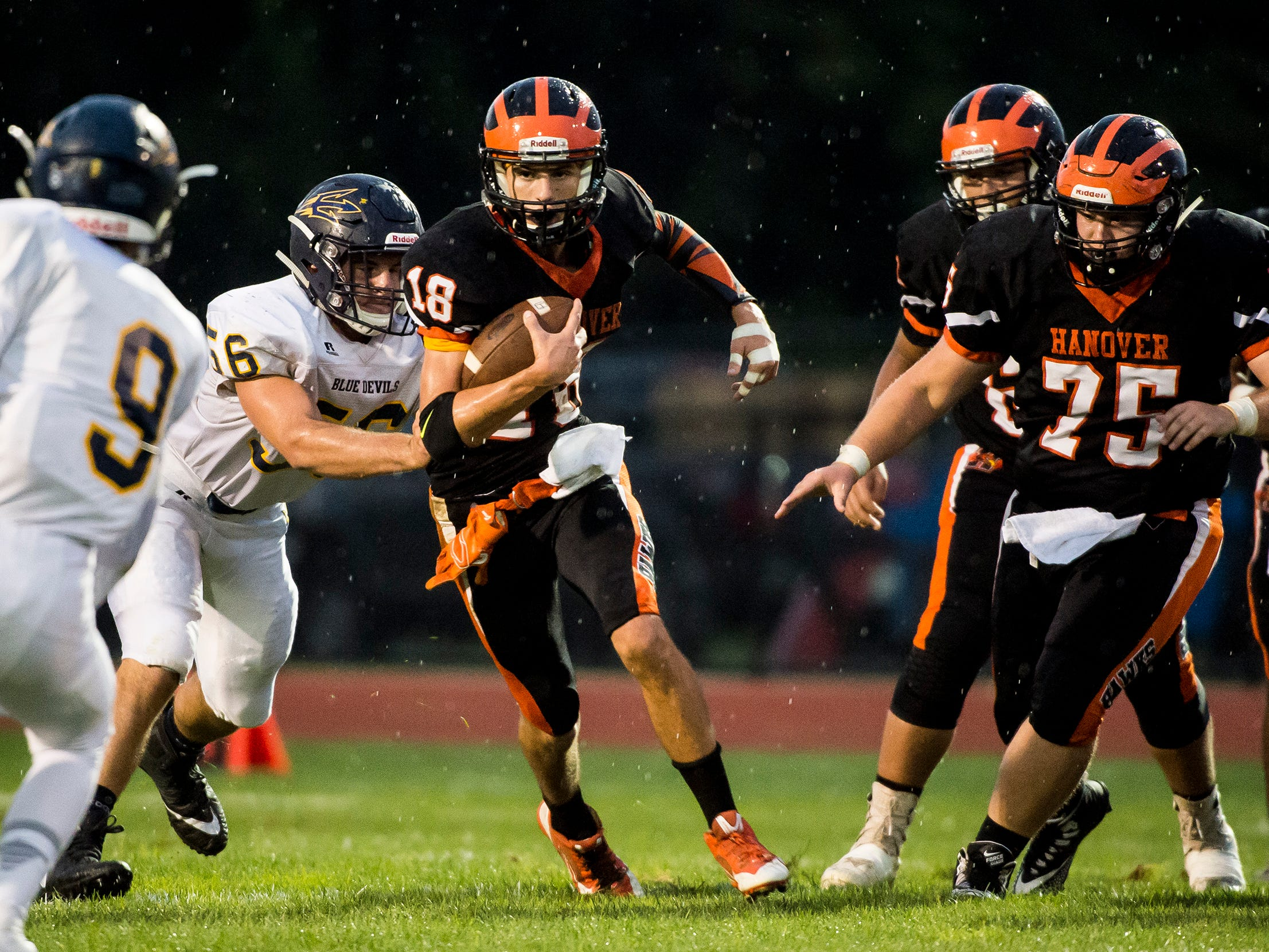 Hanover's Sam Duvall runs with the ball against Greencastle-Antrim on Friday, September 7, 2018.