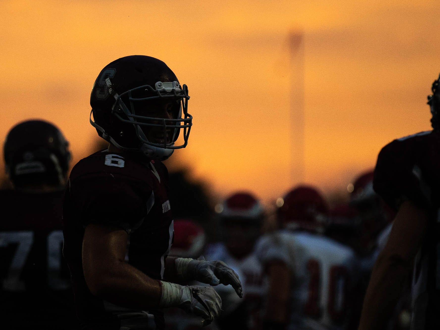 Shippensburg's Jacob Loy (6) readies for a defensive play during a football game between Shippensburg and Bermudian Springs, Friday, Sept. 7, 2018, at Shippensburg High School.