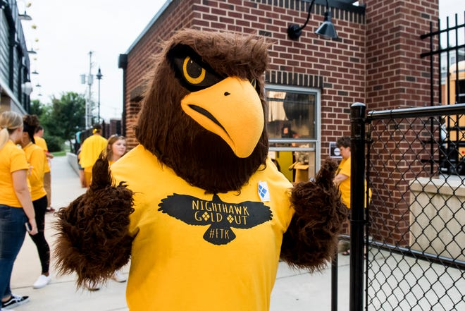 """The Hanover Nighthawk mascot is decked out in gold for the special """"Gold-Out"""" event to raise raise money and awareness for pediatric cancer prior to the football game on September 7, 2018."""