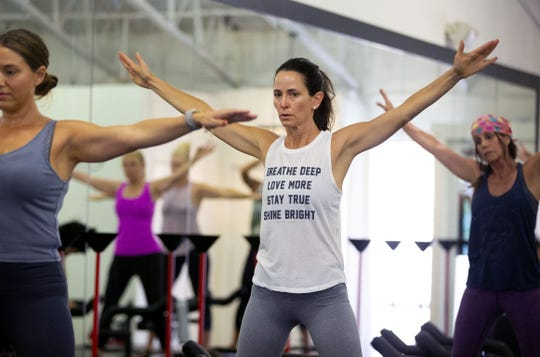 Ivy Ciolli takes a hardcore Pilates class using the Lagree Method at a The Body Lab, in Phoenix on September 6, 2018.
