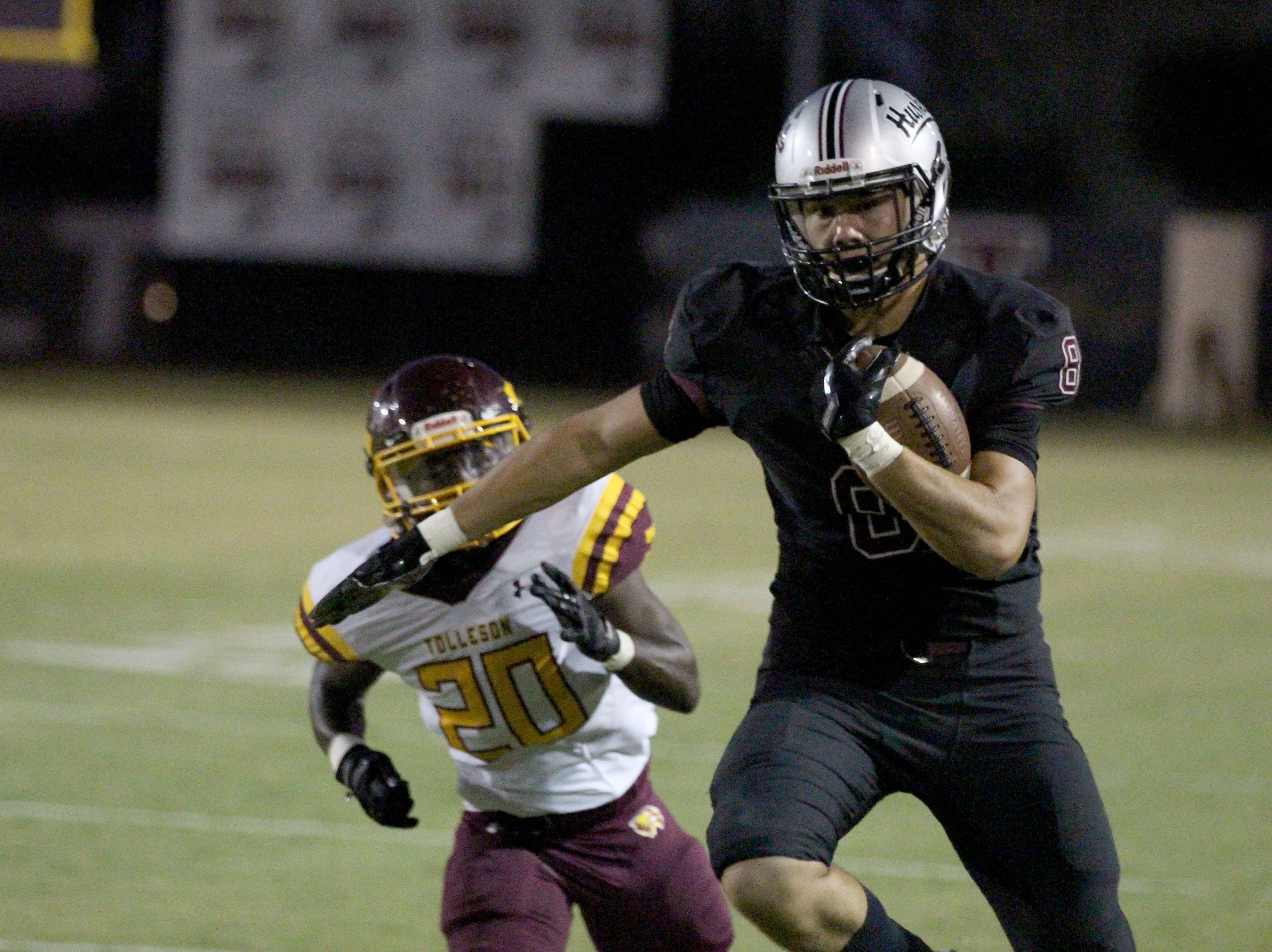 Hamilton's Brandon Schenks (8) runs up the field against Tolleson on Friday night in Chandler, Ariz. Sept. 7, 2018.