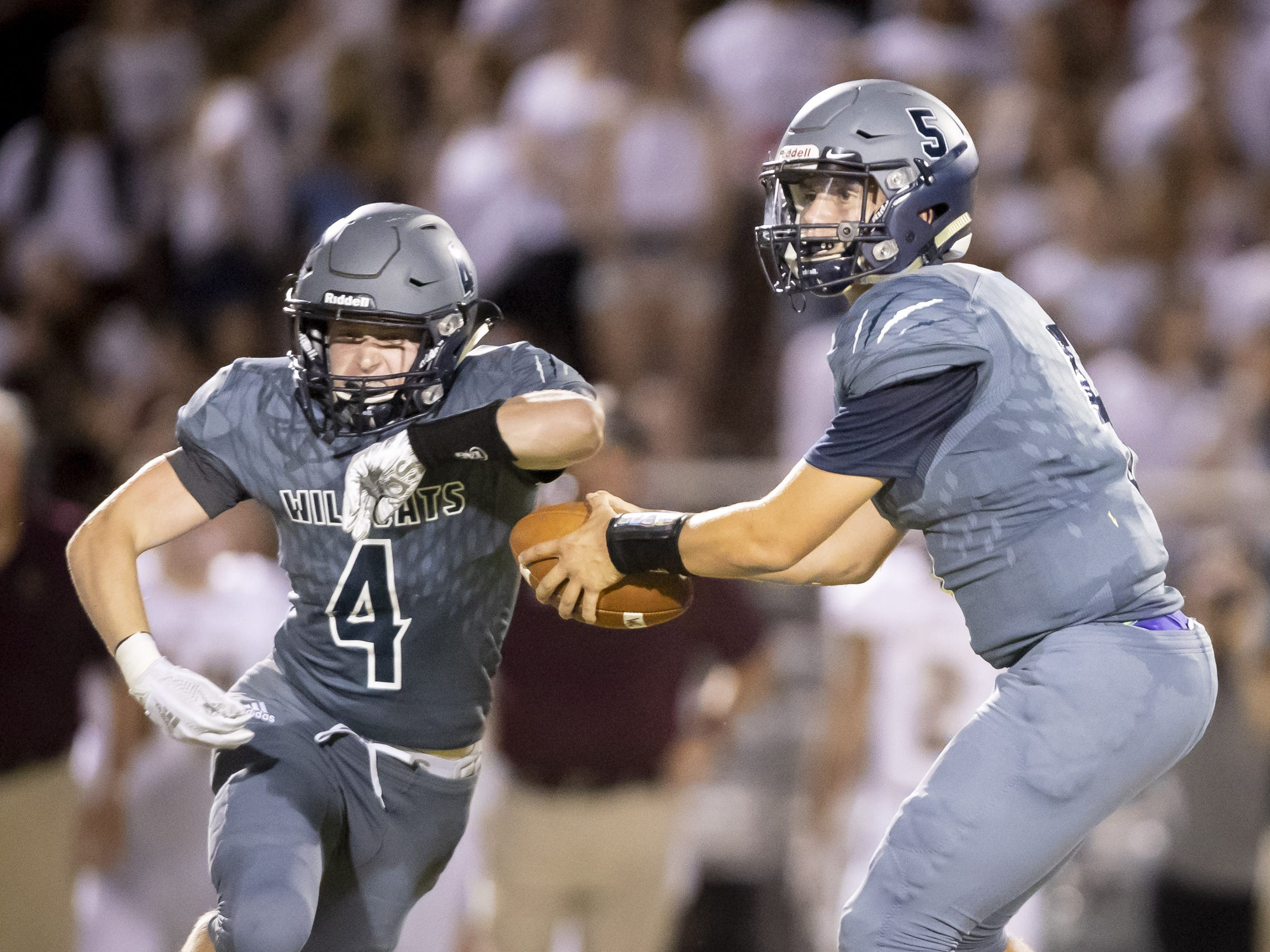 Junior quarterback Josh Ormond (5) of the Willow Canyon Wildcats hands off to junior running back Jonathan Hagestad (4) during the game against the Shadow Ridge Stallions at Willow Canyon High School on Friday, September 7, 2018 in Surprise, Arizona. #azhsfb