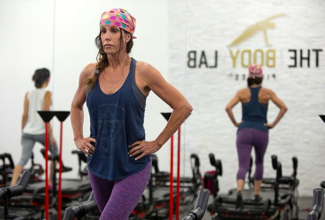 Sheri Elias takes a hardcore Pilates class using the Lagree Method at a The Body Lab, in Phoenix on September 6, 2018.