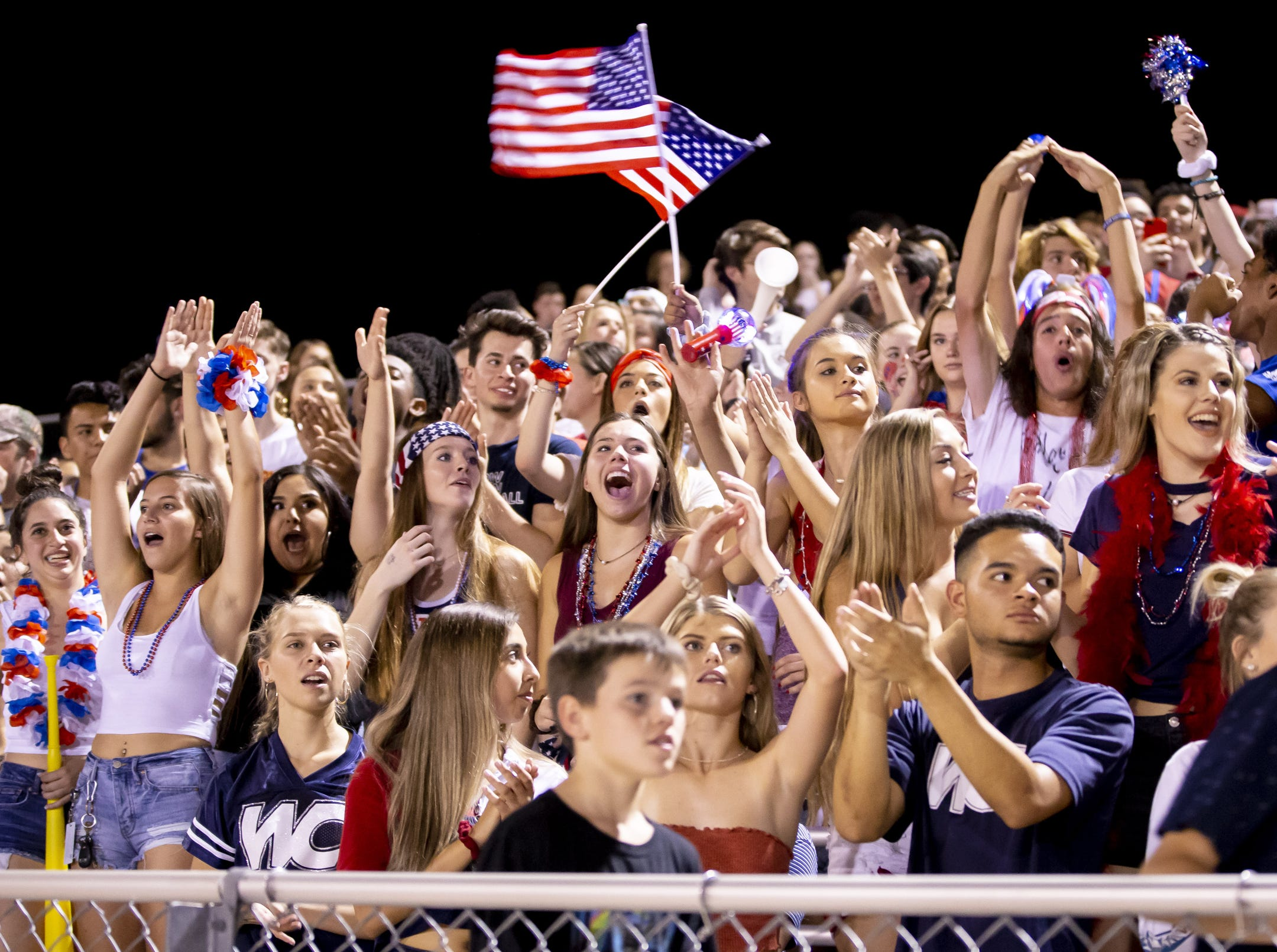 Willow Canyon fans cheer following a run against the Shadow Ridge Stallions at Willow Canyon High School on Friday, September 7, 2018 in Surprise, Arizona. #azhsfb