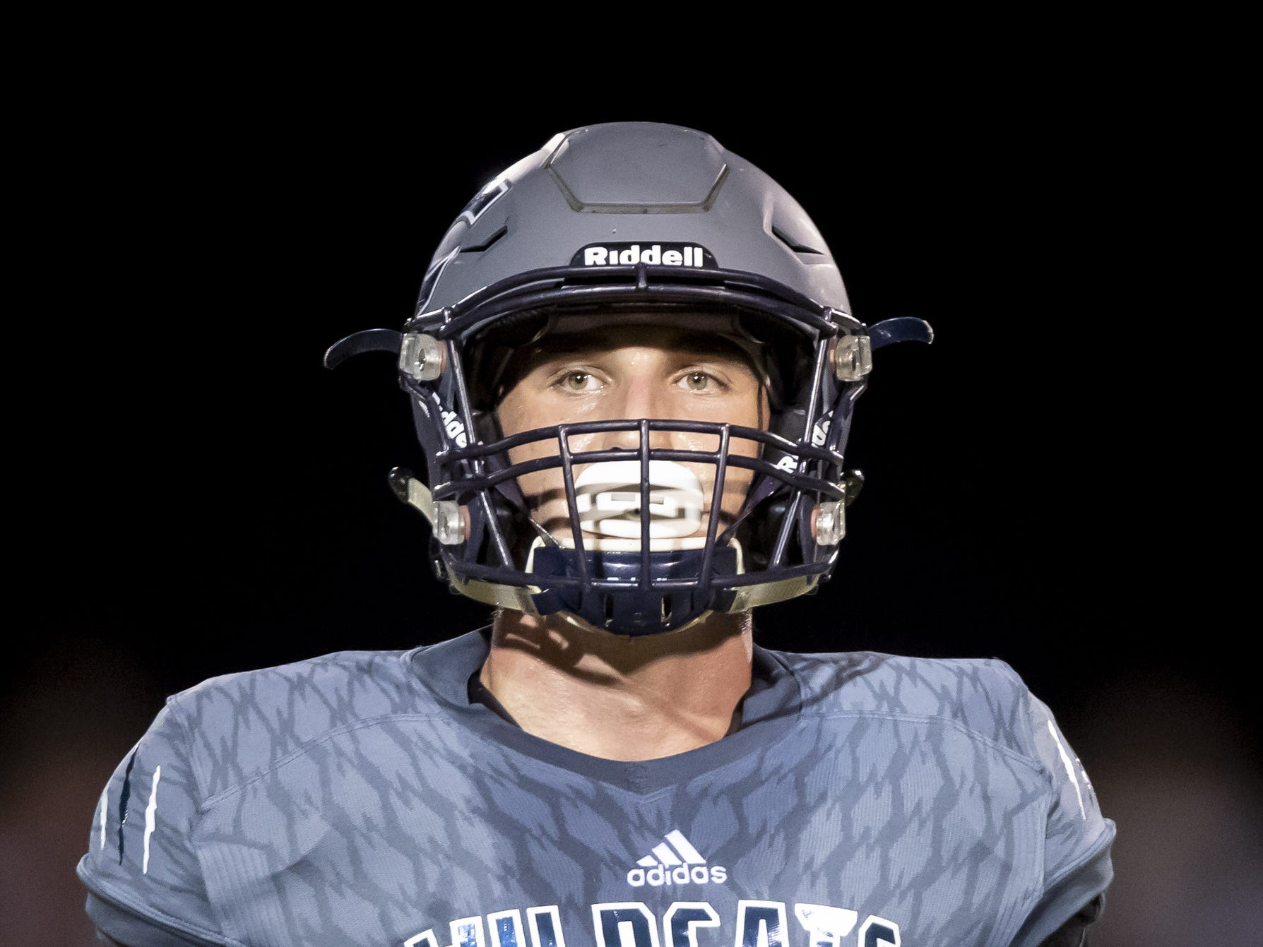 Senior wide receiver Ben Carter (15) of the Willow Canyon Wildcats looks on during the game against the Shadow Ridge Stallions at Willow Canyon High School on Friday, September 7, 2018 in Surprise, Arizona. #azhsfb