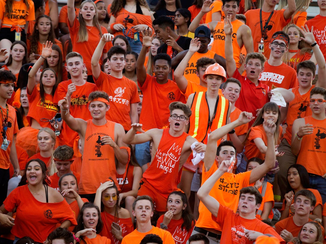 Corona del Sol's students have fun before their game with  Boulder Creek in Tempe Friday, Sept. 7, 2018. #azhsfb