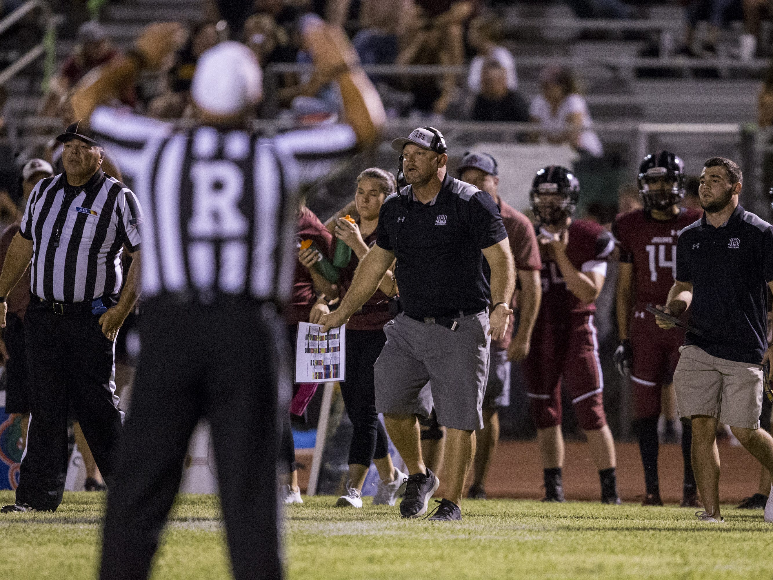 Desert Ridge head coach Jeremy Hathcock watches during the game against Liberty in the 2nd quarter on Friday, Sept. 7, 2018, at Desert Ridge High School in Mesa, Ariz.  #azhsfb