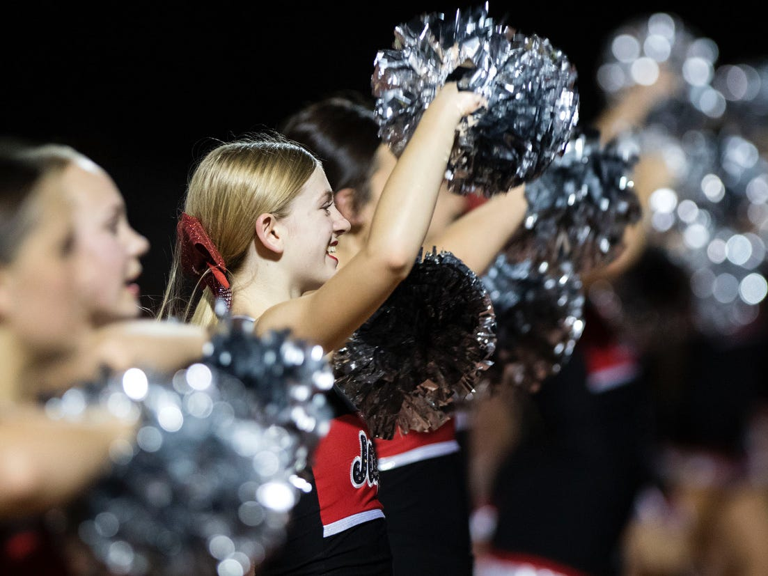 Boulder Creek cheerleaders do their thing during their game against Corona del Sol in Tempe Friday, Sept. 7, 2018. #azhsfb
