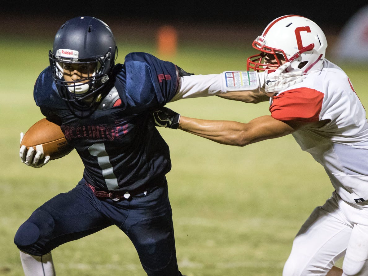 McClintock's recovers a fumble as Central's Isaac Saiz makes sure he's down during their game in Tempe Friday, Sept. 7, 2018. #azhsfb