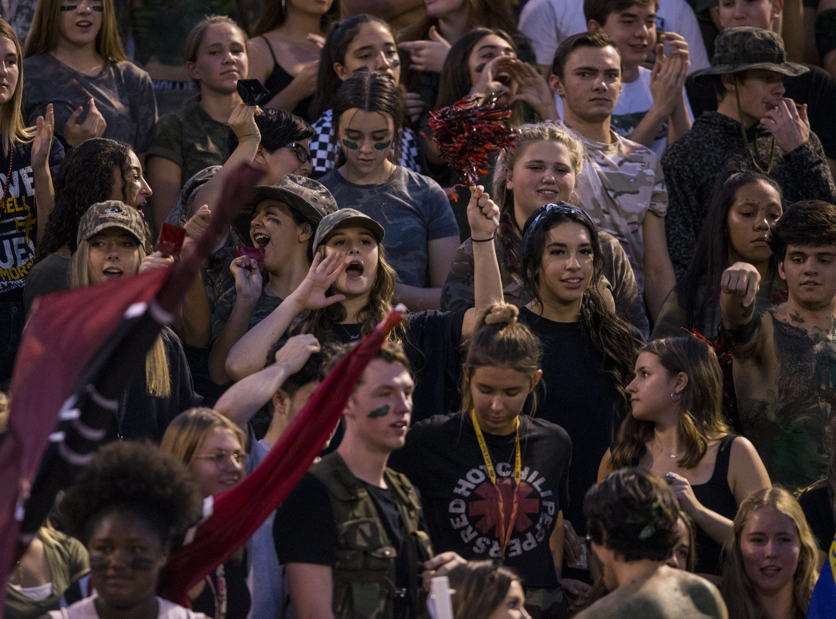 Desert Ridge fans cheer before the game against Liberty on Friday, Sept. 7, 2018, at Desert Ridge High School in Mesa, Ariz.  #azhsfb