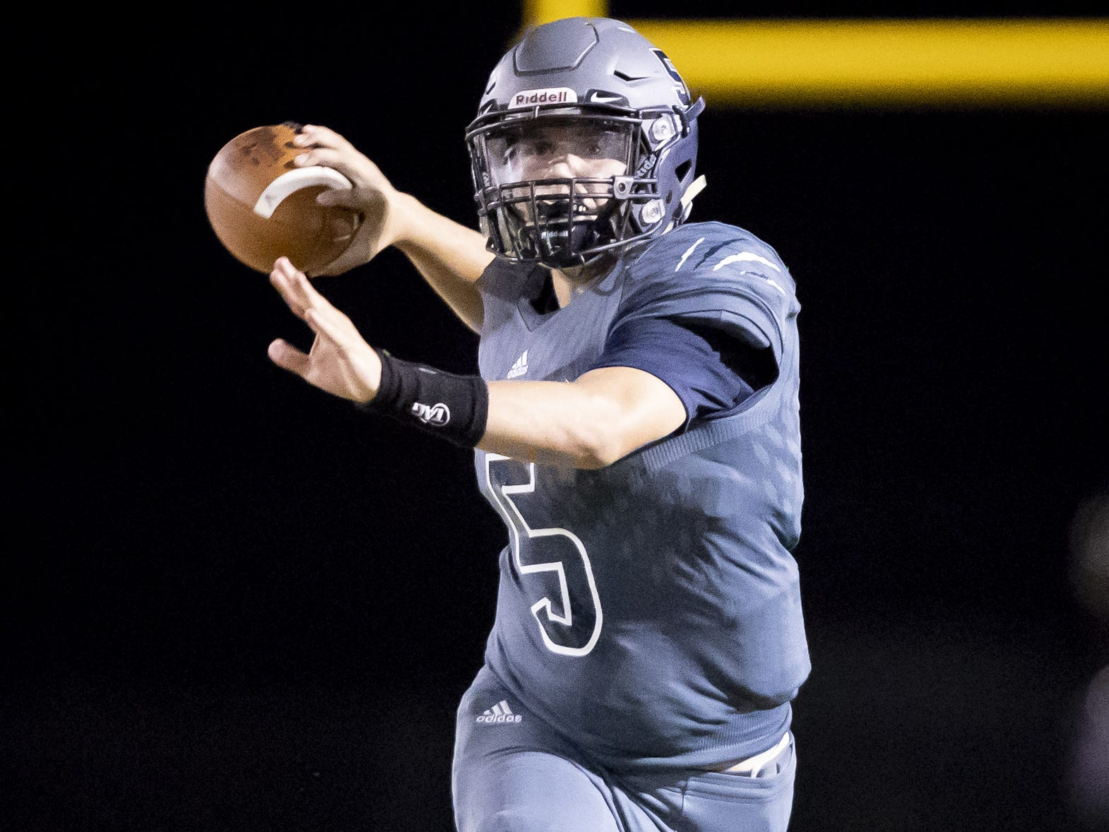 Junior quarterback Josh Ormond (5) of the Willow Canyon Wildcats throws a pass against the Shadow Ridge Stallions at Willow Canyon High School on Friday, September 7, 2018 in Surprise, Arizona. #azhsfb