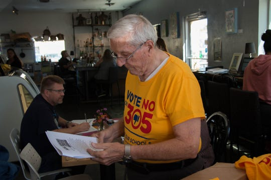 Eugene Brady, a retired teacher, hit the streets to encourage people to vote no on Proposition 305 on Sept. 8, 2018.