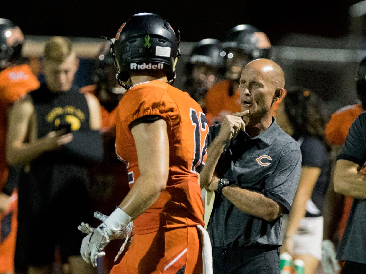 Corona del Sol head coach Jon Becktold calls a play during their game with Boulder Creek in Tempe Friday, Sept. 7, 2018. #azhsfb