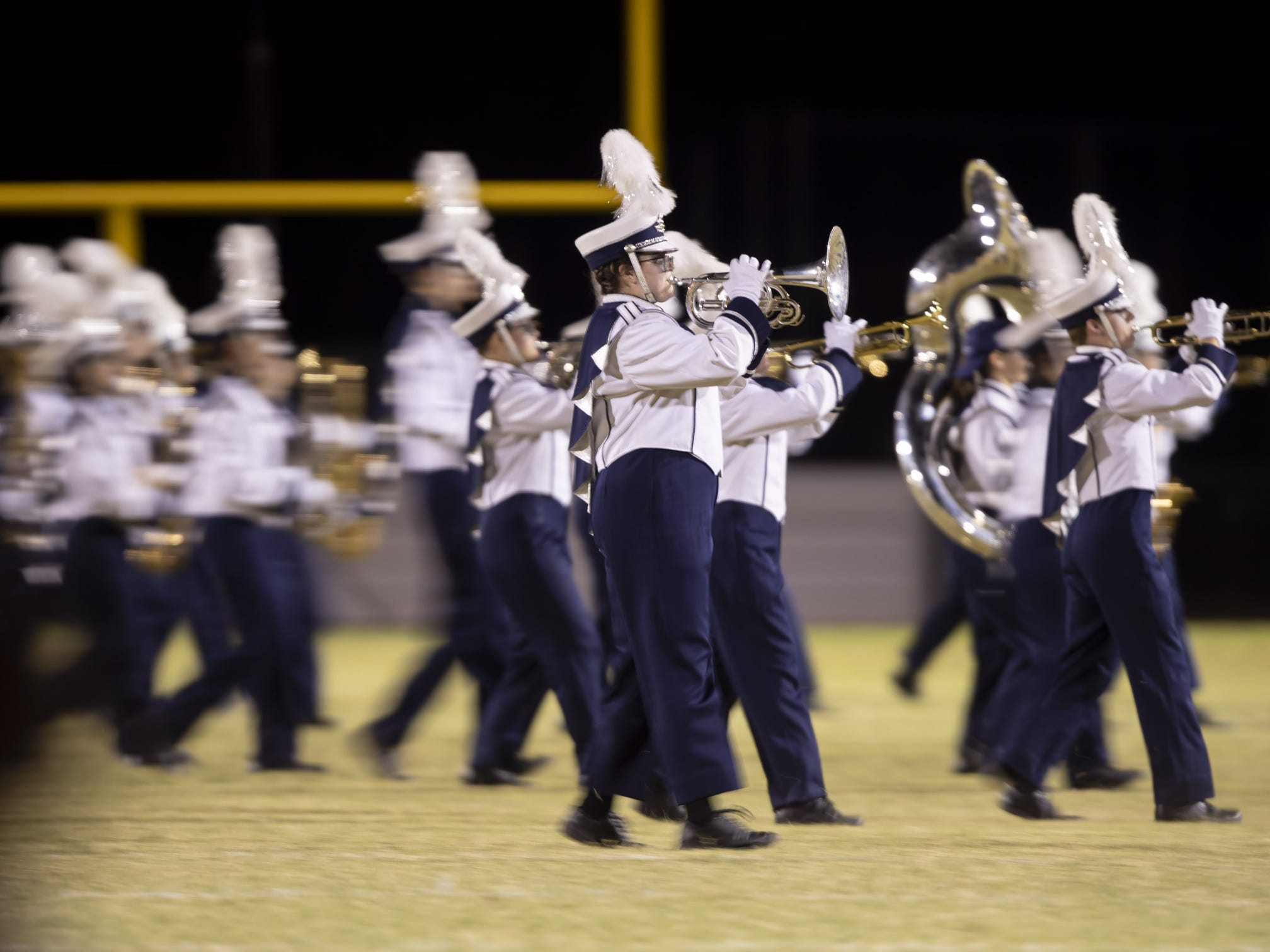 The Willow Canyon marching band plays during halftime at the football game between the Willow Canyon Wildcats and the Shadow Ridge Stallions at Willow Canyon High School on Friday, September 7, 2018 in Surprise, Arizona. #azhsfb