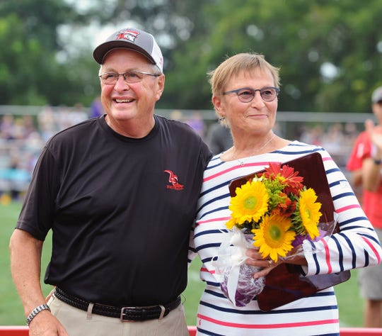 Frank Hetrick, with his wife of 50 years, Donna Hetrick, during Friday night's ceremony at Annville-Cleona honoring his 50 years in coaching.