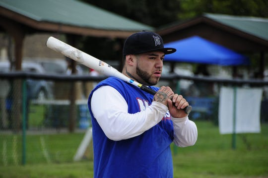 Manny Rodriguez of Owosso waits to bat Saturday, Sept. 8, 2018 at the Blue Water Recovery Classic Softball Tournament at Knox Field in Port Huron.