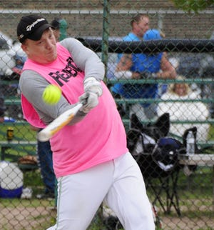 Cam Brandl of the Rejectz fouls off a pitch Saturday, Sept. 8, 2018 at the Blue Water Recovery Classic Softball Tournament at Knox Field in Port Huron.