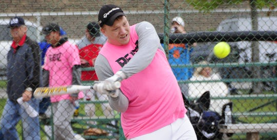 Cam Brandl starts his swing Saturday, Sept. 8, 2018 at the Blue Water Recovery Classic Softball Tournament at Knox Field in Port Huron.
