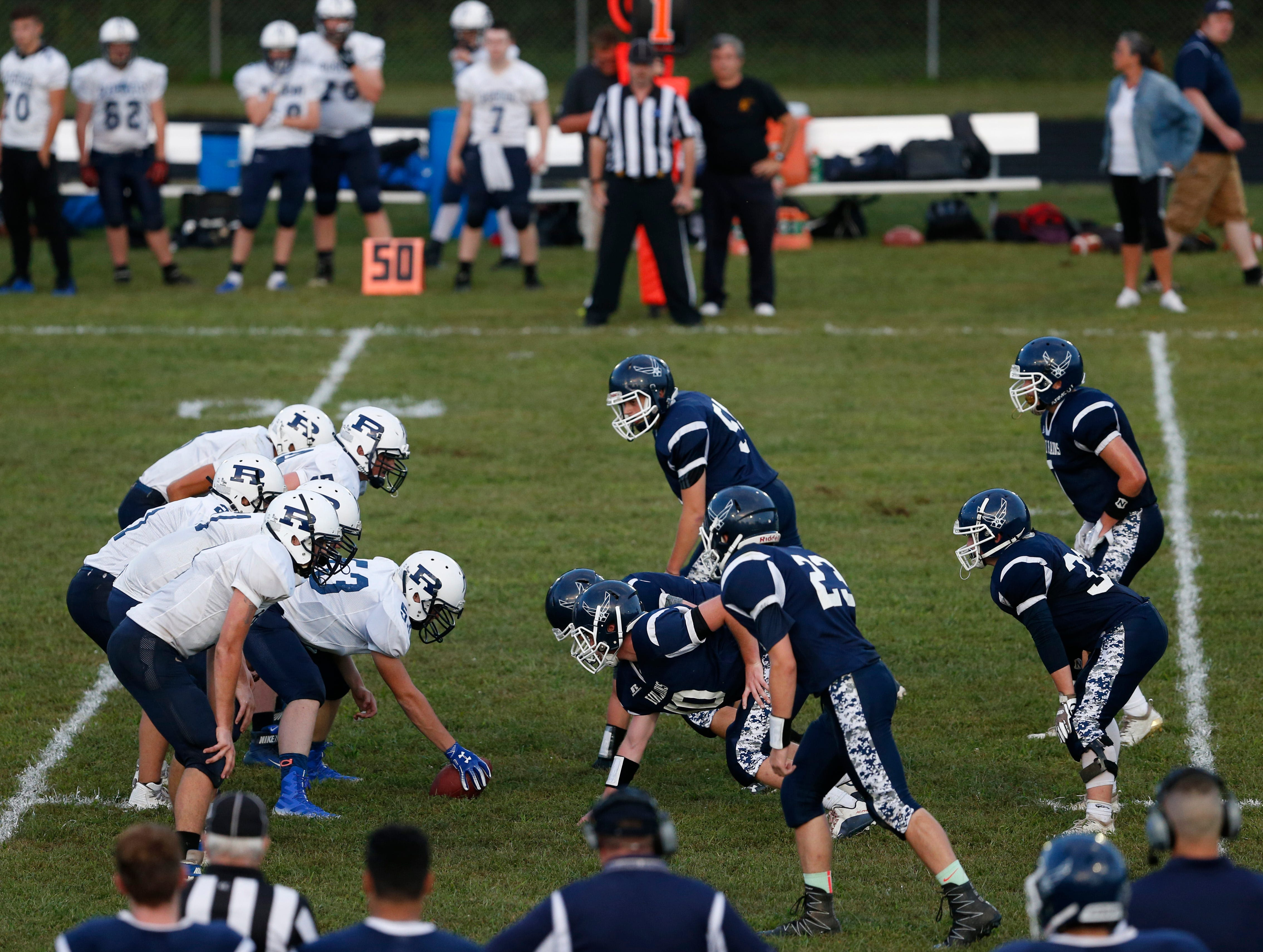Pine Plains and Roscoe line up before the snap during Friday's game at Stissing Mountain High School on September 7, 2018.
