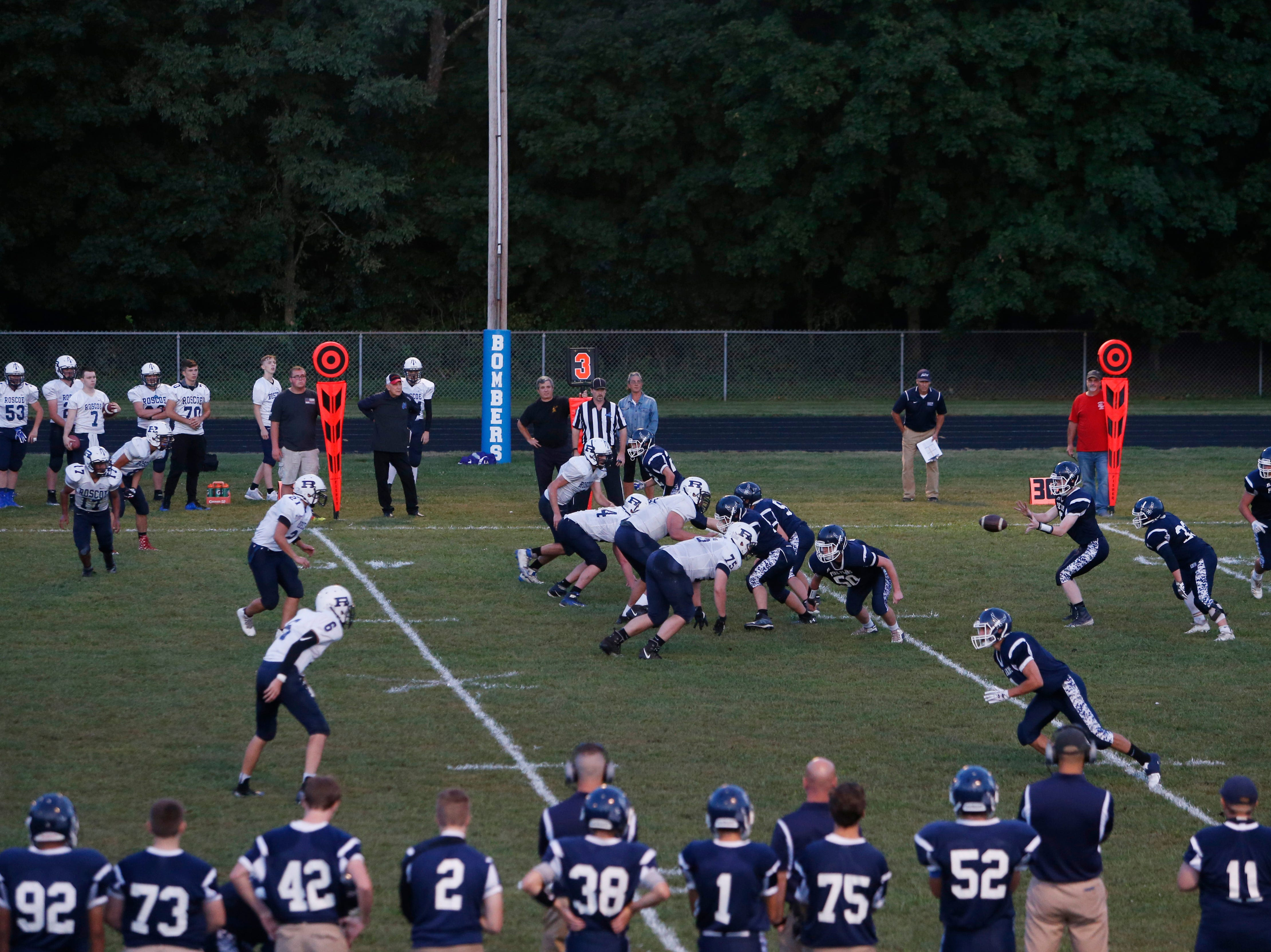 Pine Plains and Roscoe during Friday's game at Stissing Mountain High School on September 7, 2018. Friday marks the start of the 8-man football season.