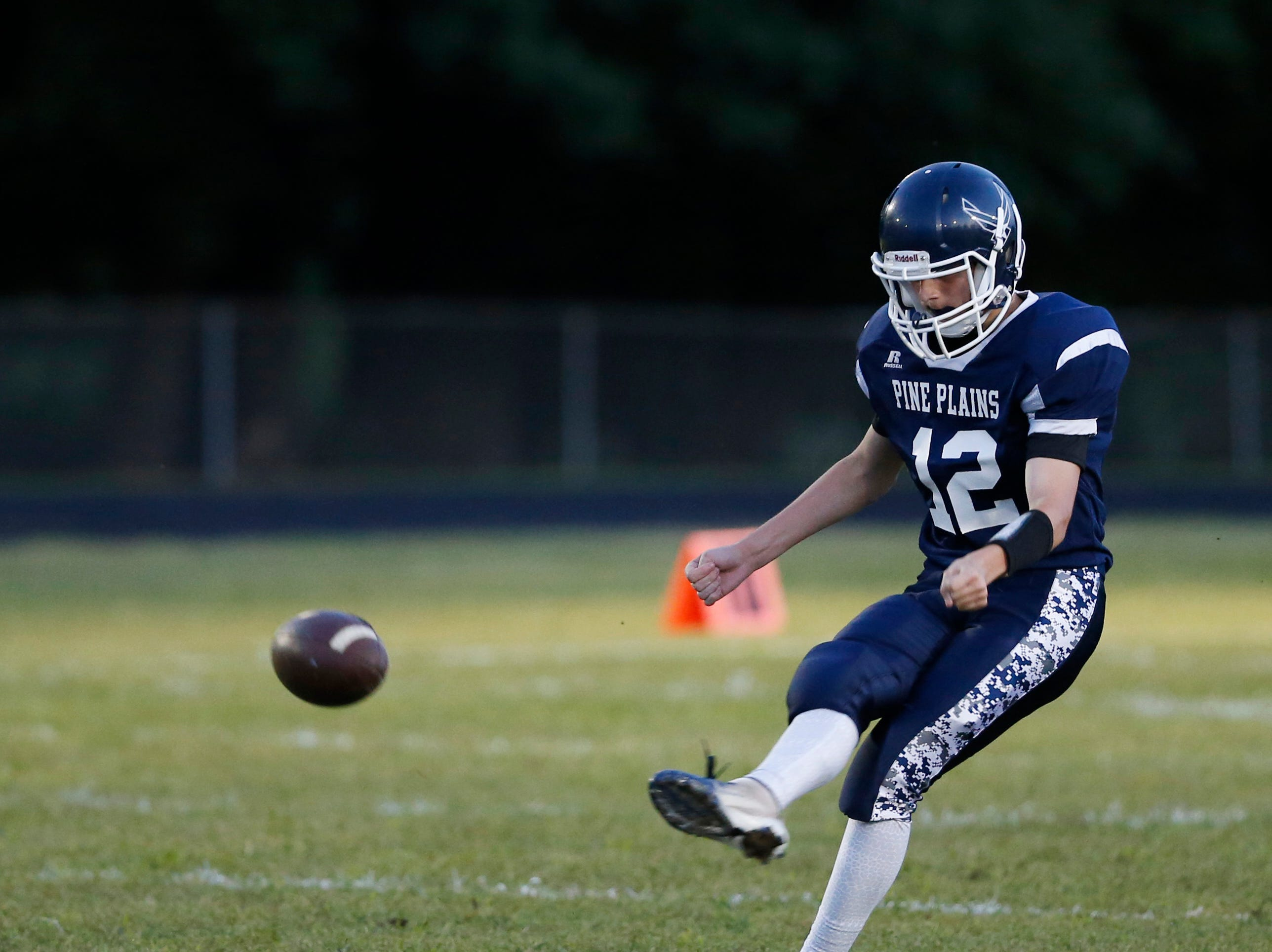Pine Plains' Dylan Parks kicks off during Friday's game versus Roscoe at Stissing Mountain High School on September 7, 2018.