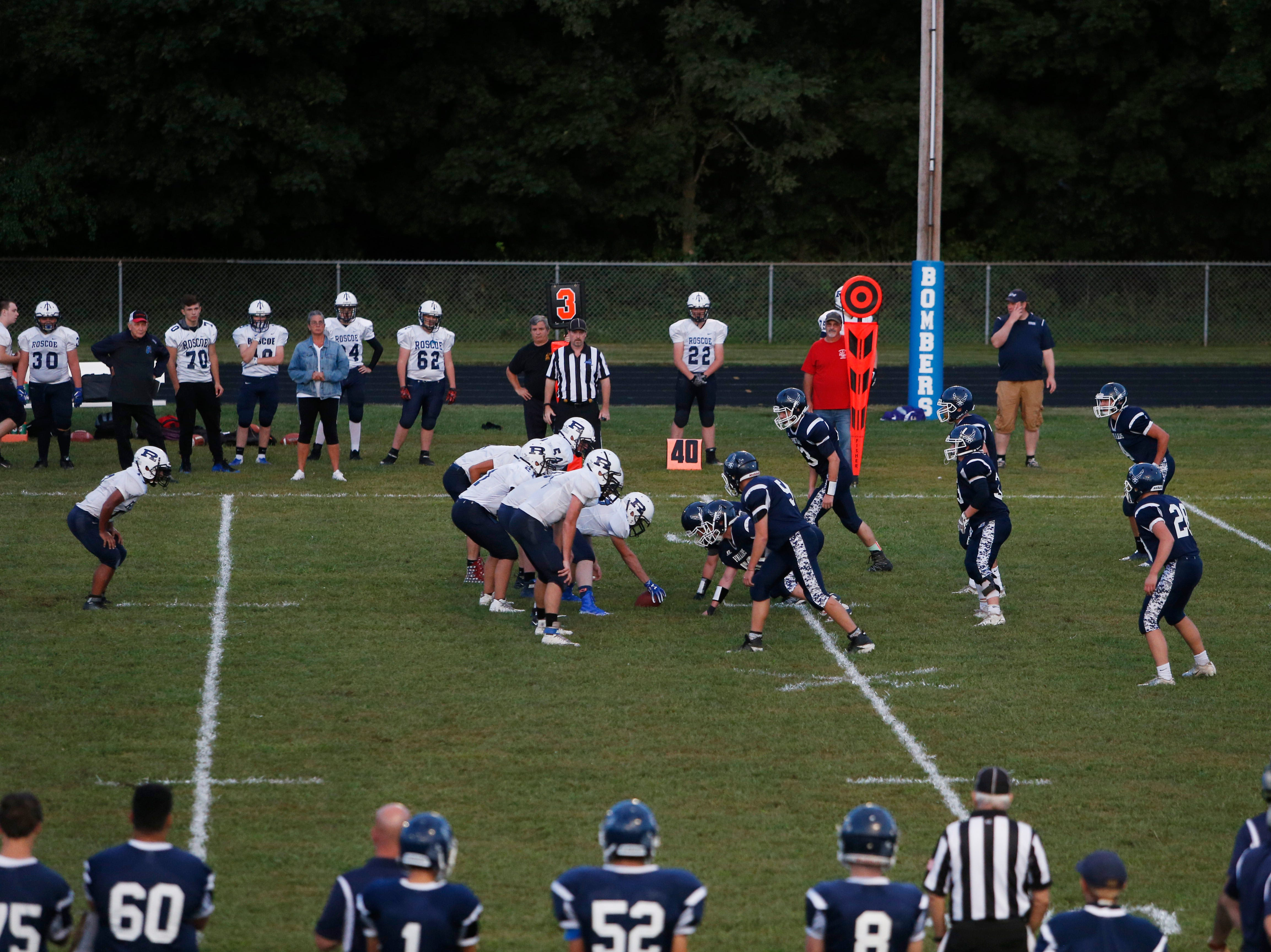 Pine Plains and Roscoe line up before the snap during Friday's game at Stissing Mountain High School on September 7, 2018. Friday marks the start of the 8-man football season.