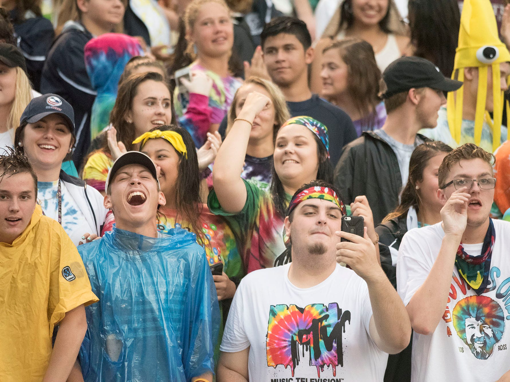 Trojans fans cheer during the game. Chambersburg defeated Red Lion 28-19 in PIAA football on Friday, Sept. 7, 2018.