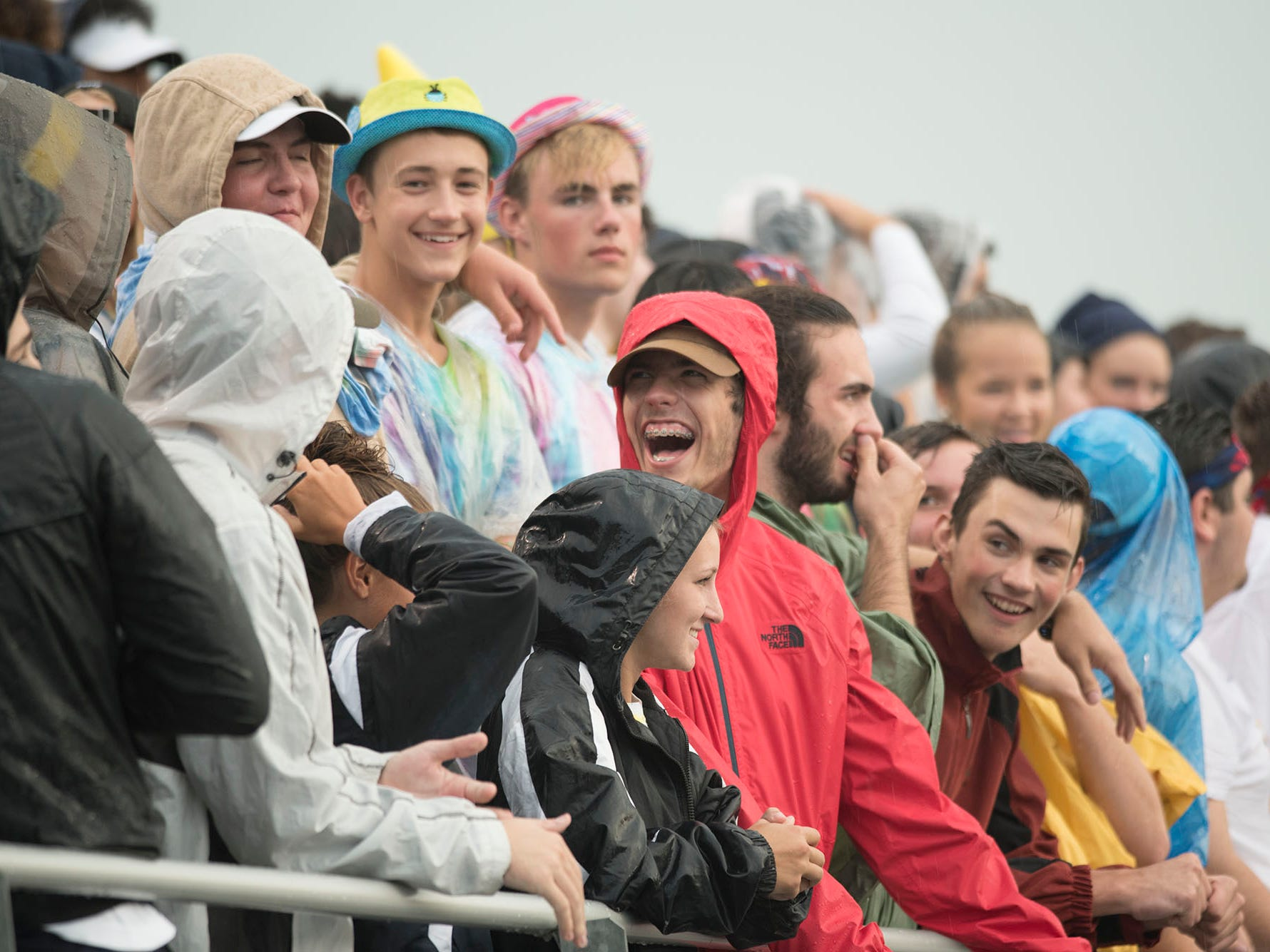 Trojan fans are ready for action during early rain. Chambersburg defeated Red Lion 28-19 in PIAA football on Friday, Sept. 7, 2018.