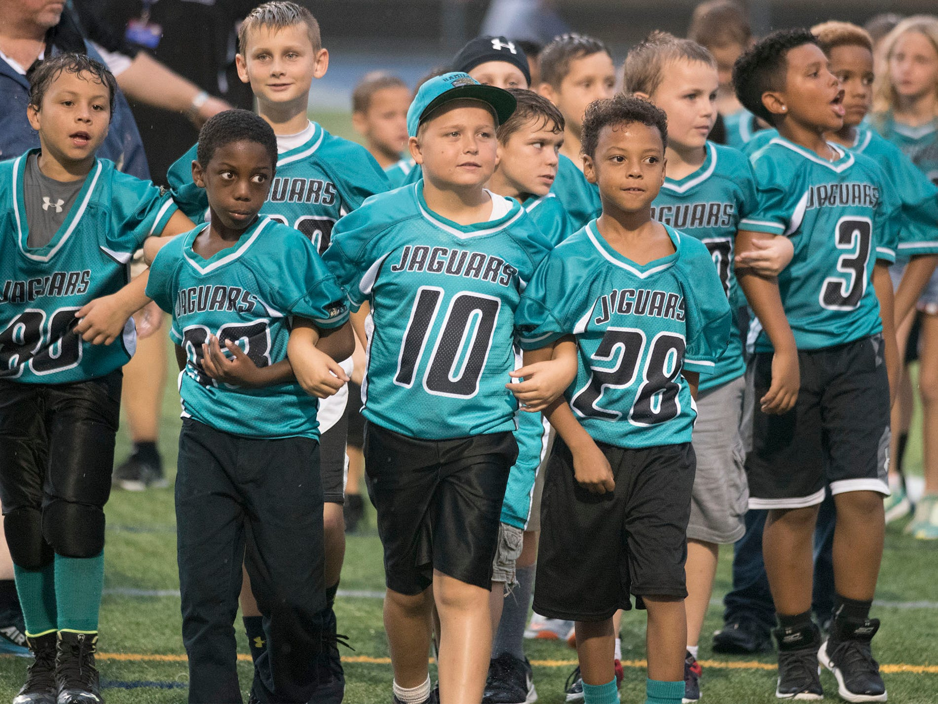 Youth football players were on hand for the Trojans game. Chambersburg defeated Red Lion 28-19 in PIAA football on Friday, Sept. 7, 2018.