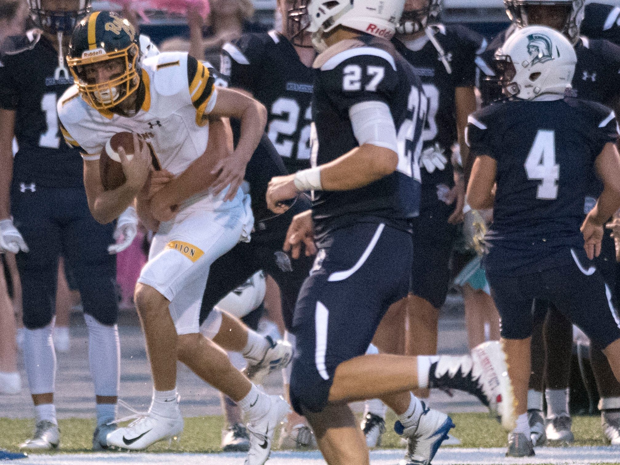 Red Lion's Randy Fizer Jr.(1) runs for the Lions. Chambersburg defeated Red Lion 28-19 in PIAA football on Friday, Sept. 7, 2018.