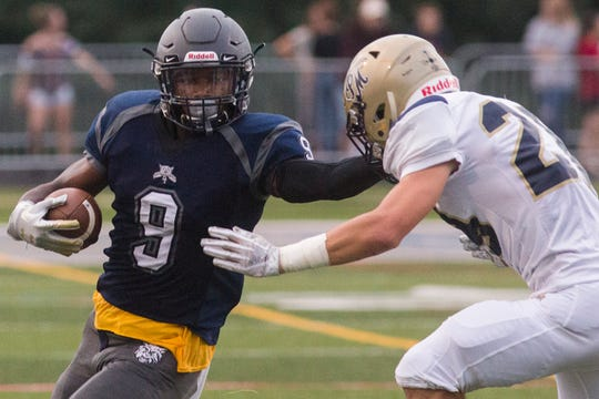 Dallastown's Nyzair Smith runs with the ball. Dallastown defeats Penn Manor 42-7 in football at Dallastown Area High School in Dallastown, Friday, September 7, 2018.