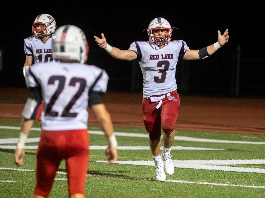 Red Land's Mike Daylor (3) celebrates a touchdown, Friday, September 7, 2018. The Dover Eagles beat the Red Land Patriots, 35-13, at Dover High School.