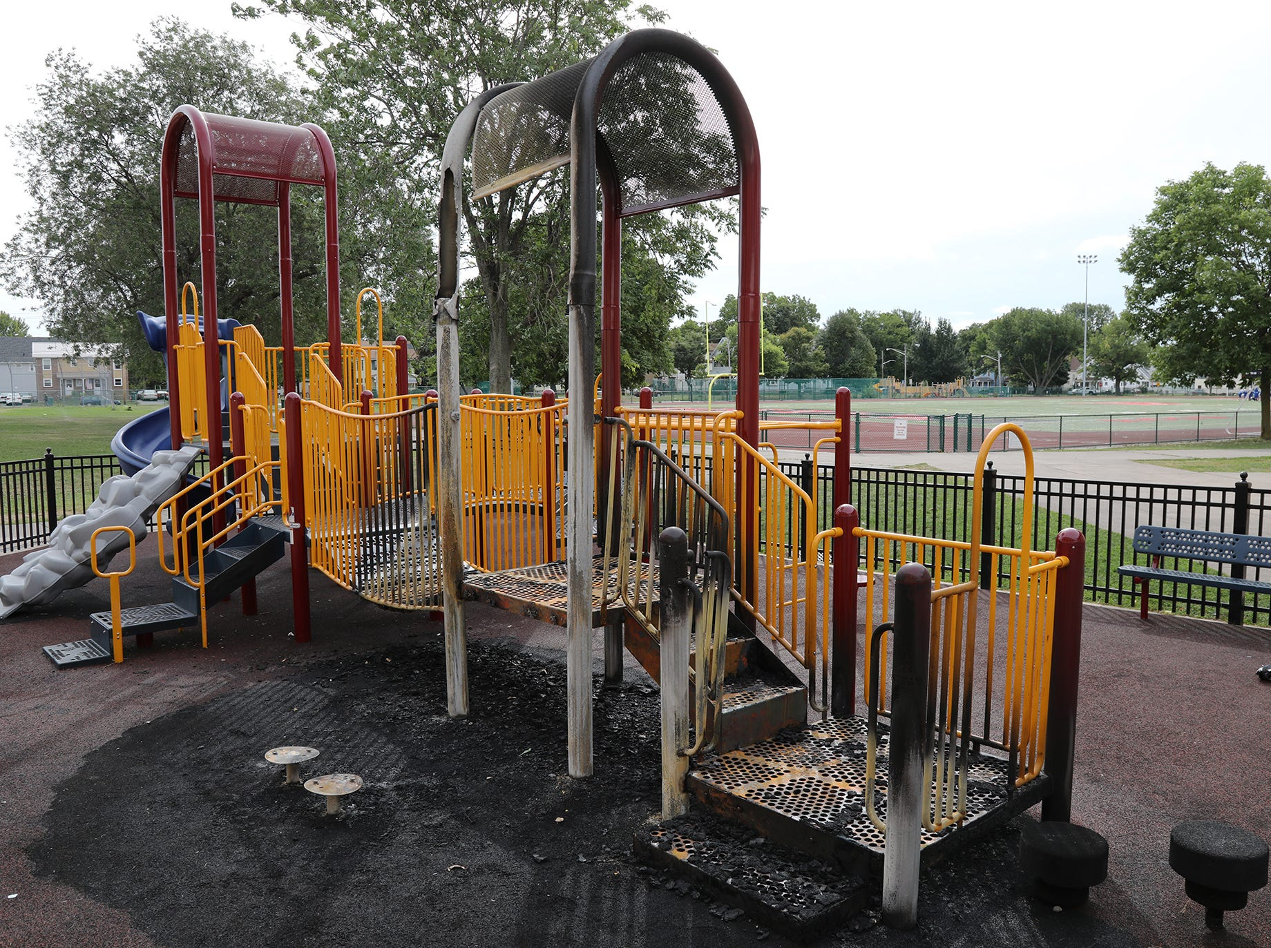 Wilson Foundation Academy playground damaged by fire.