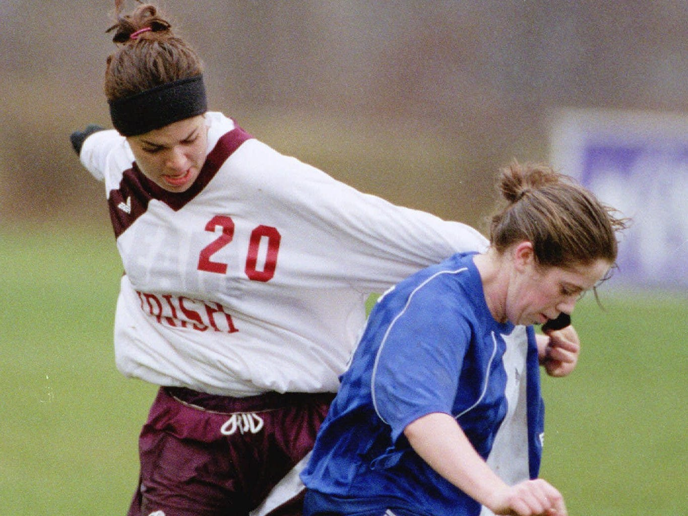 Aquinas's Stephanie Happ, left, and Pearl River's Krystyn Knieriem battle for the ball during the state Class B girls soccer semifinals in Oneonta on Nov. 20, 1998.