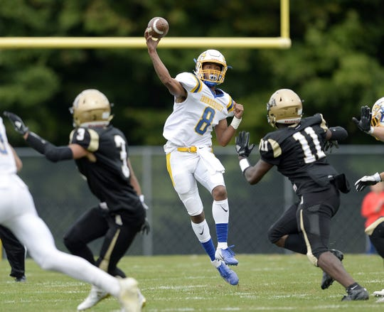 Irondequoit's Freddy June Jr. throws a pass Saturday, Sept. 8, 2018.