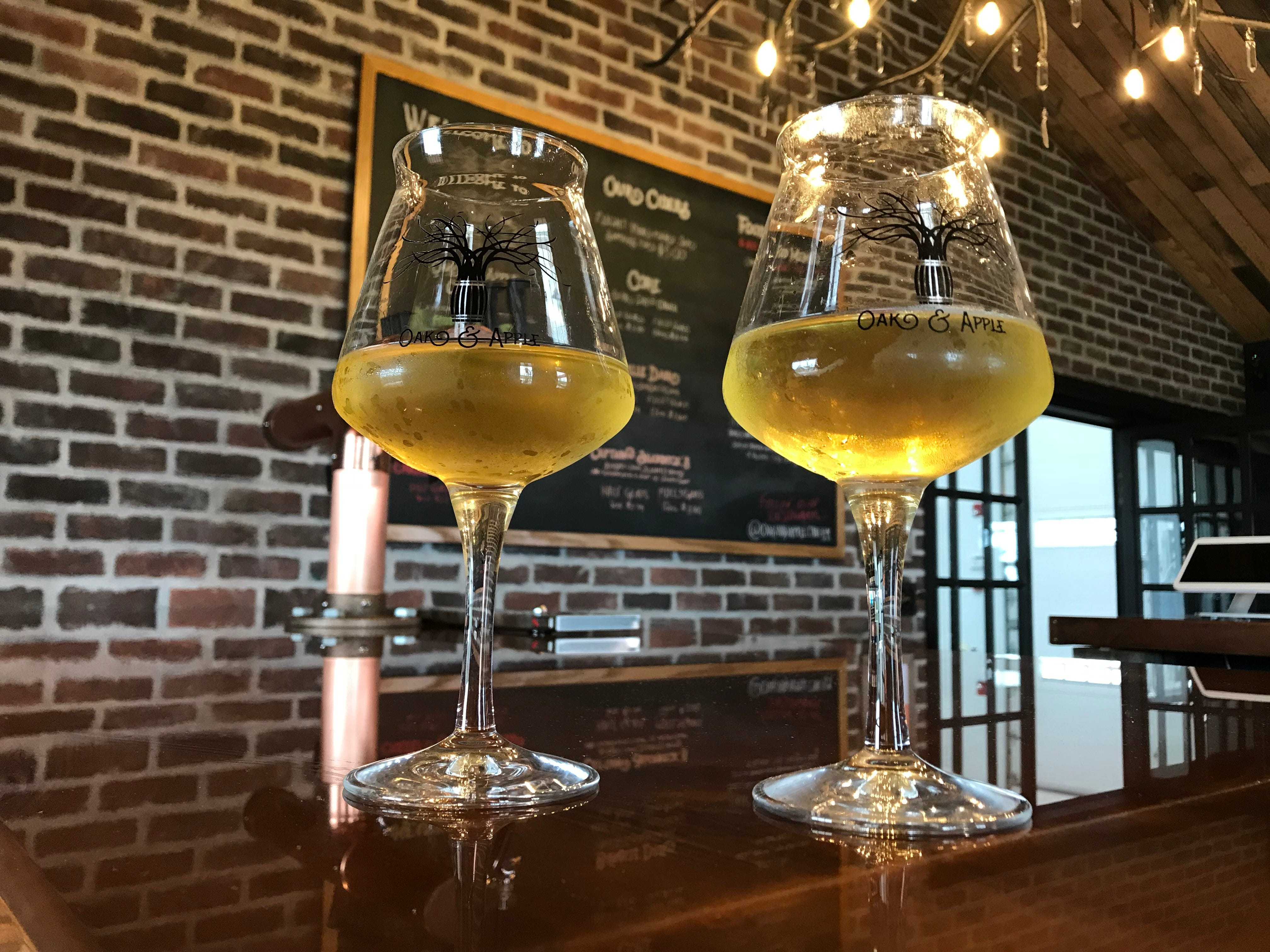 Two ciders at Oak & Apple Cidery in Penfield.