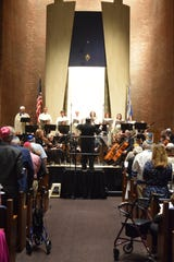 Jonathan Allentoff conducts the Temple Beth El orchestra and choir in 'Shma Koleinu' at the Selichot Service, on Sept. 1, 2018.