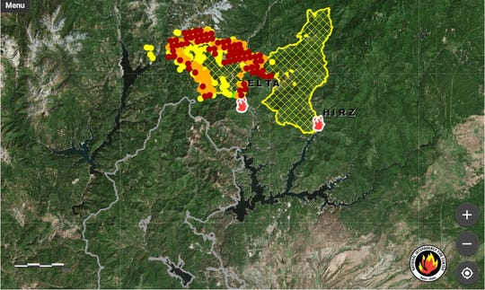 The Delta Fire grew to 31,325 acres on Friday night. It merged with the Hirz Fire and is close to spreading into the Carr Fire burn area.
