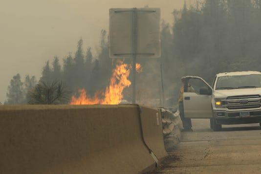 Delta Fire next to I-5 near Redding