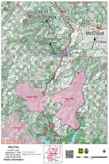 A map from the US Forest Service shows the latest information as of Saturday, on the Delta and Hirz fires.