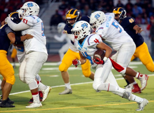 The North Salinas offensive line has the size and mobility to pave the way for running back Matt Morales and the rest of the Vikings' runners. This week's game against Watsonville could be a tough test.