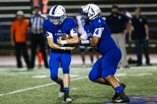 Lake View's Kendall Blue passes the ball to Elliot Peterson during the game against Fabens Friday, Sept. 7, 2018, at San Angelo Stadium.