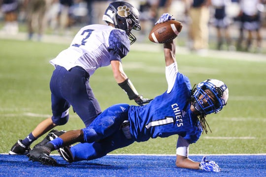 Lake View's Ahmad Daniels scores a touchdown against Fabens Friday, Sept. 7, 2018, at San Angelo Stadium.